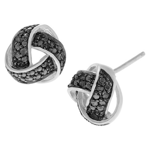 1/5 CT. T.W. Round-cut Diamond Pave Set Weave Stud Earrings in Sterling Silver - image 1 of 2