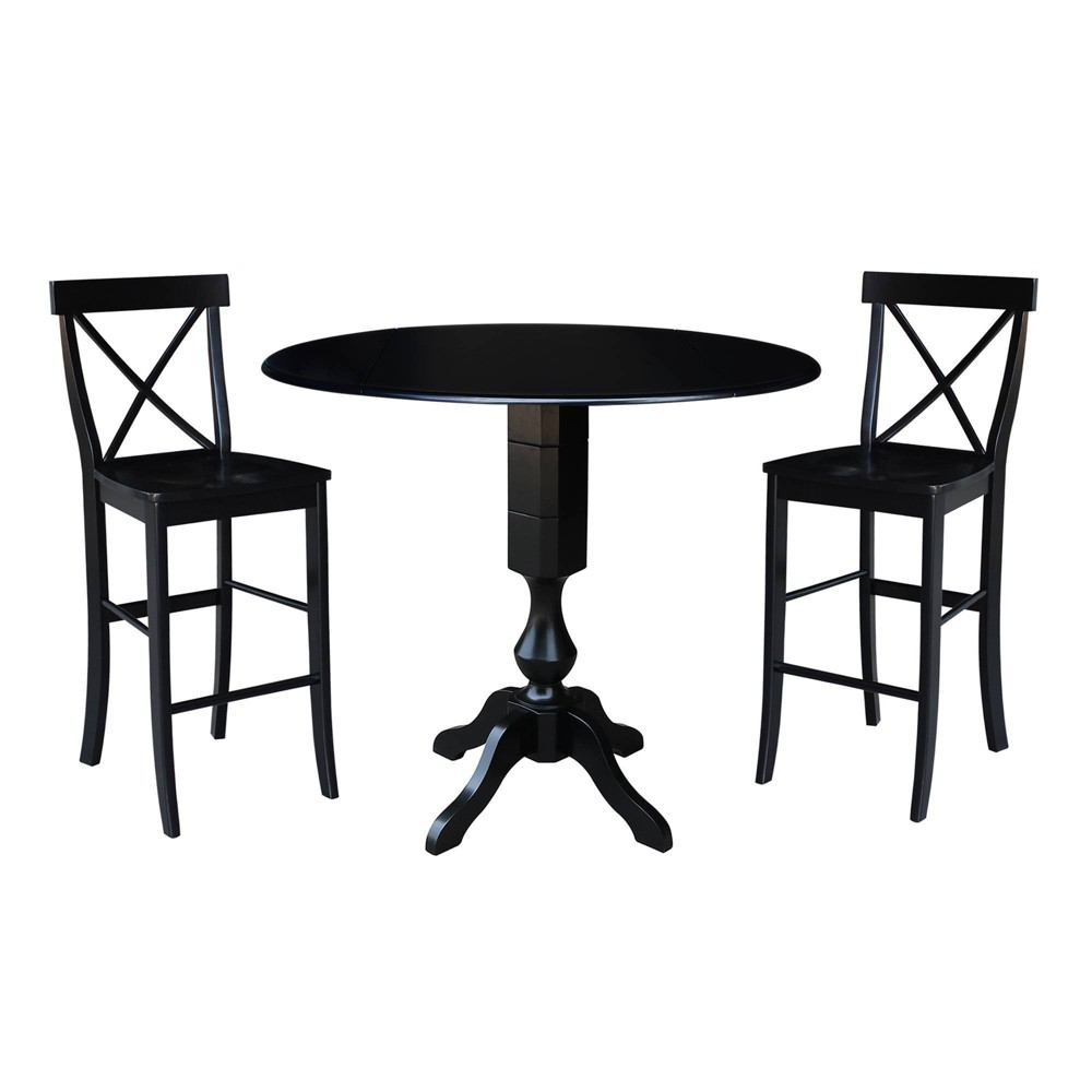 42.3 Round Pedestal Bar Height Table with 2 Bar Height Stools Black - International Concepts