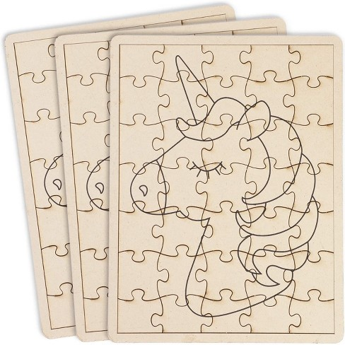 "3 Pack Unfinished Blank Unicorn Wooden Puzzle for Kids, DIY Preschool Wood Puzzles to Draw On, Arts & Crafts Supplies, 7.6"" x 10"", 35pc - image 1 of 4"