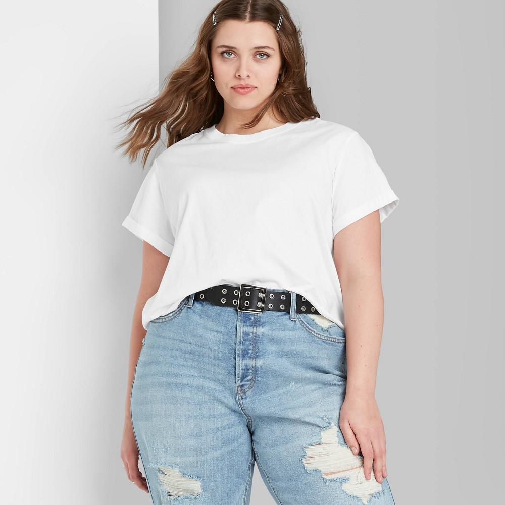 Women 39 S Plus Size Short Sleeve Roll Cuff T Shirt Wild Fable 8482 White 4x
