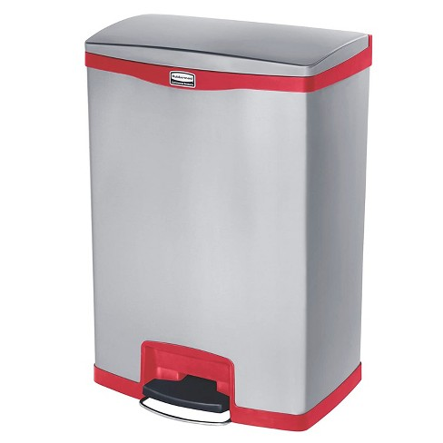 Rubbermaid Slim Jim 24 Gallon Stainless Steel Front Step On Kitchen Bathroom Bedroom Trash Can Wastebasket Red Target