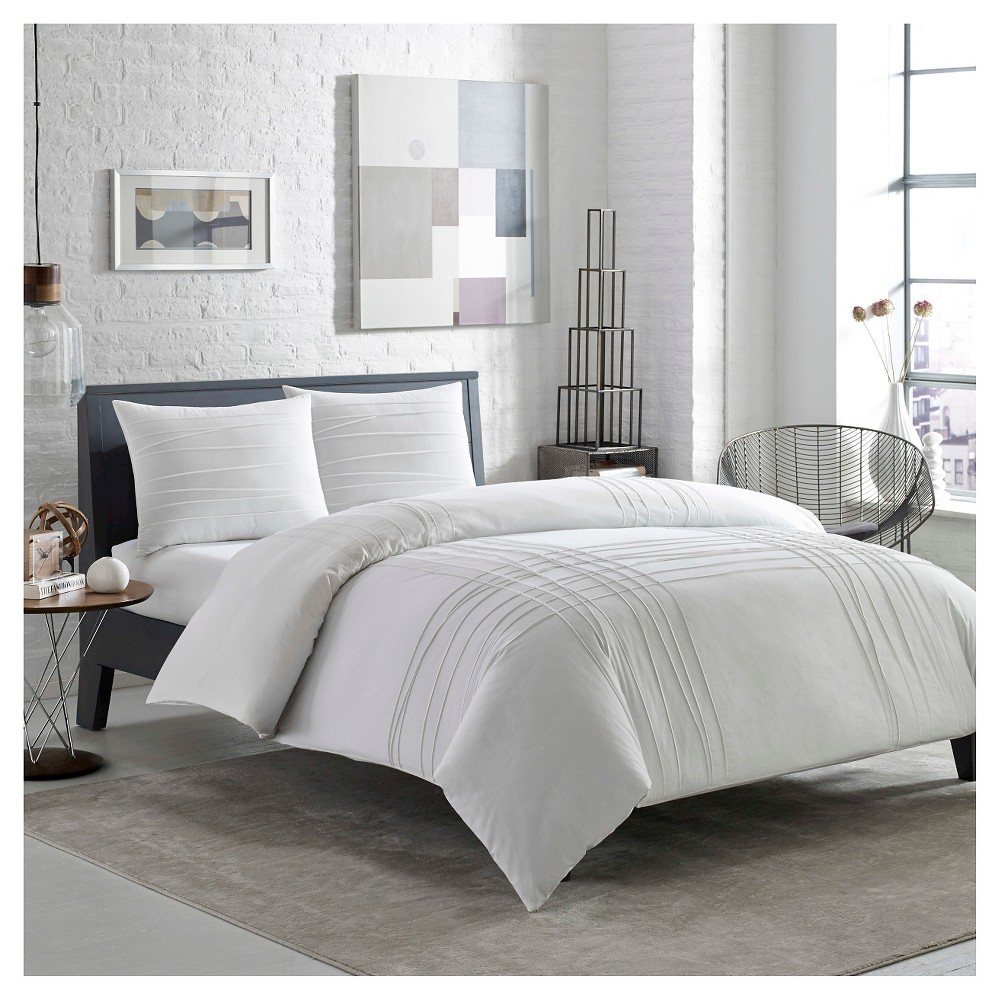 Image of Variegated Pleats Duvet Cover Set Twin - White - City Scene