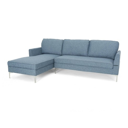 2pc O\'Conner Mid Century Modern Sectional Sofa Navy Blue Tweed -  Christopher Knight Home