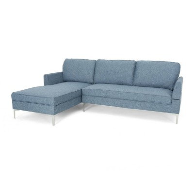 Superbe 2pc Ou0027Conner Mid Century Modern Sectional Sofa Navy Blue Tweed    Christopher Knight Home