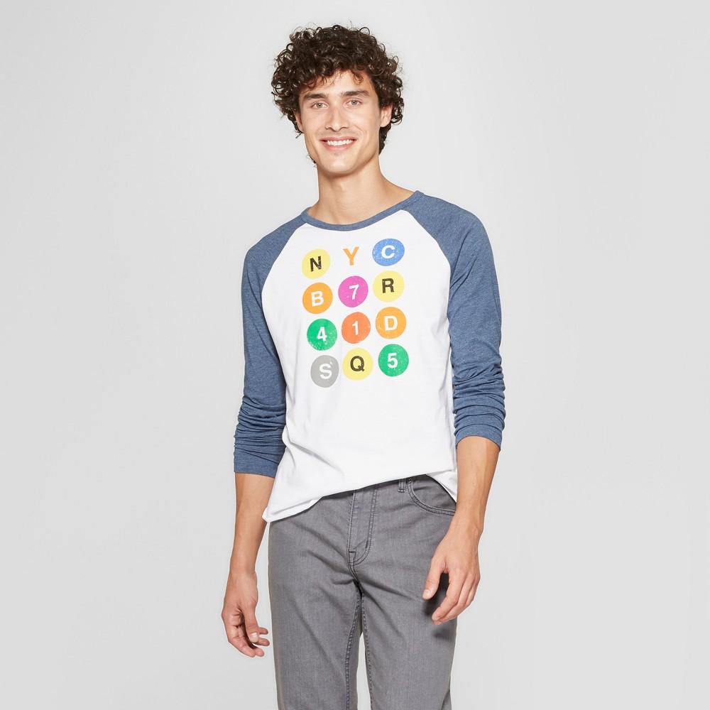Men's Long Sleeve Subway Dots Raglan Graphic T-Shirt - Awake White/Navy S