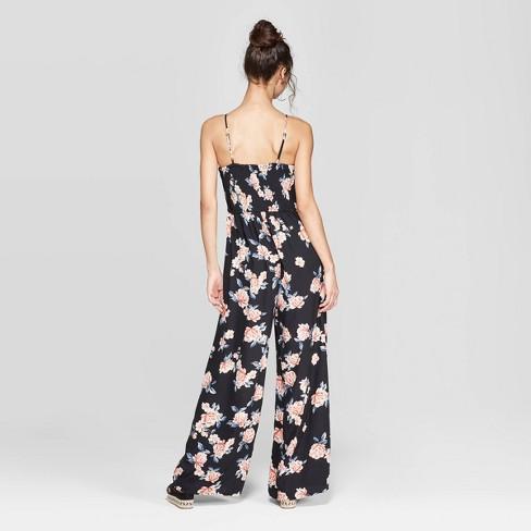 55b31f37499d Women s Floral Print Strappy Bra Cup Jumpsuit - Xhilaration™ Black   Target