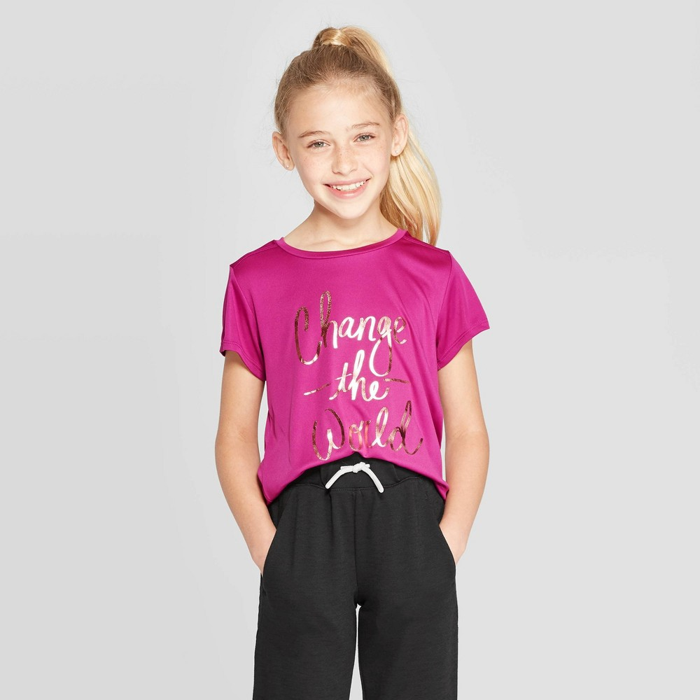 Image of Girls' Change The World Graphic Tech T-Shirt - C9 Champion Magenta Pink L, Girl's, Size: Large, Pink Pink