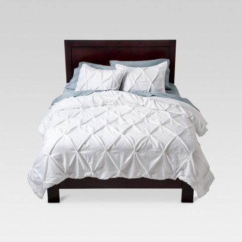 White Pinched Pleat Comforter Set Full Queen 3pc Threshold Target