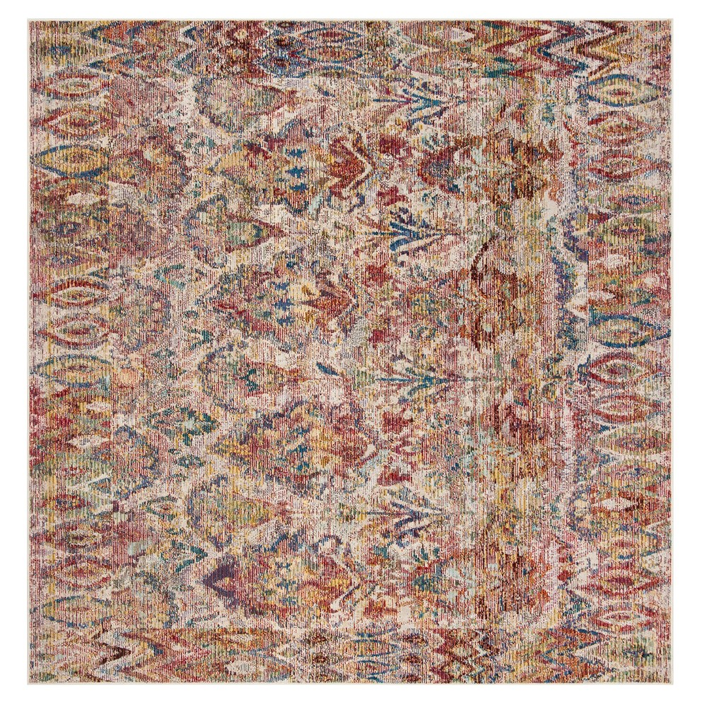 Light Gray/Rose Floral Loomed Square Area Rug 7'X7' - Safavieh, Gray Pink