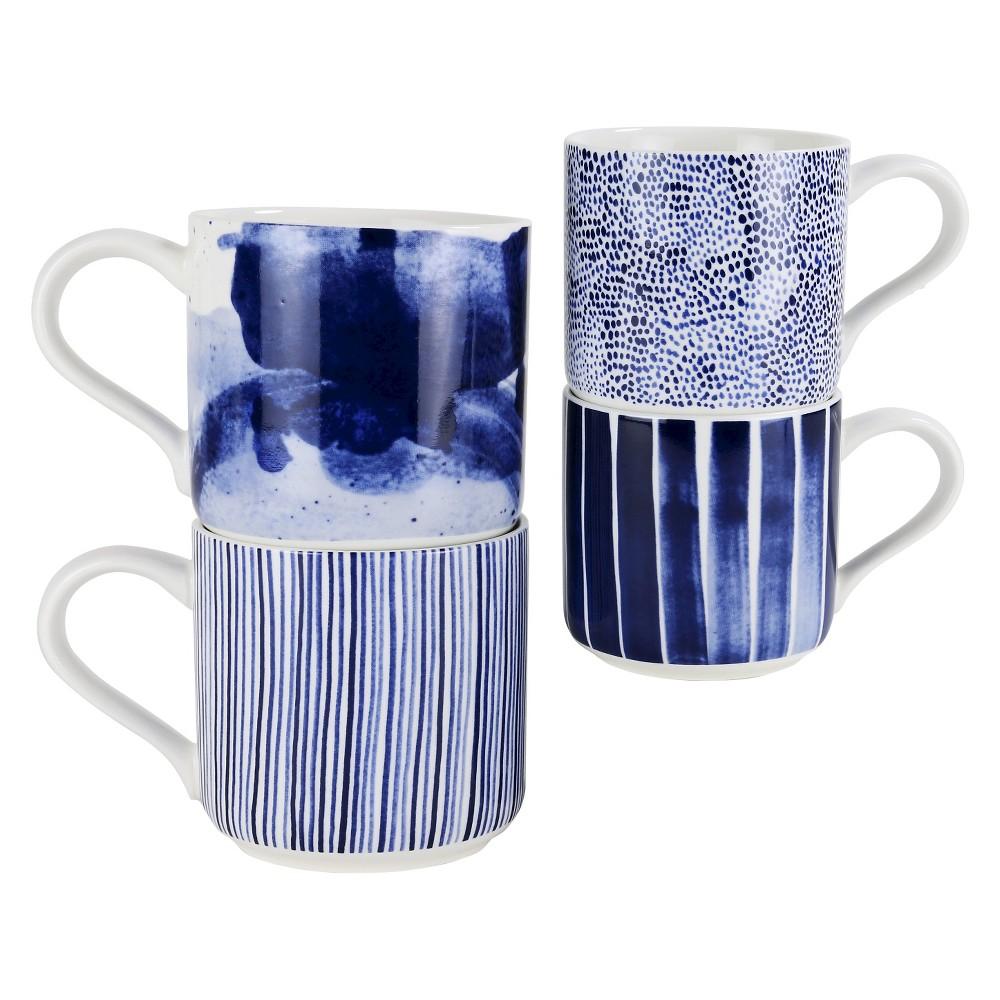 Robert Gordon Indigo Brush Organic Shape Mug 11.8oz - Set of 4, Indigo Acid