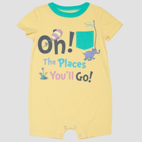 Baby Boys' Dr. Seuss 'Oh The Places You'll Go!' Short Sleeve Romper - Yellow - image 1 of 1