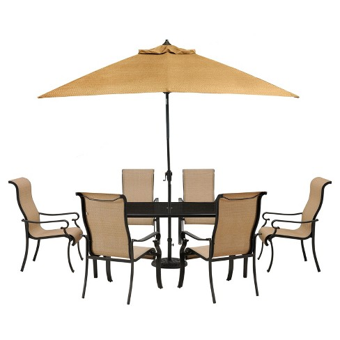 Hammond 9pc Rectangle Metal Patio Dining Set With Glass Top Table