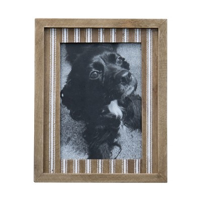White Ticking Striped 5x7 Inch Wood Decorative Picture Frame - Foreside Home & Garden