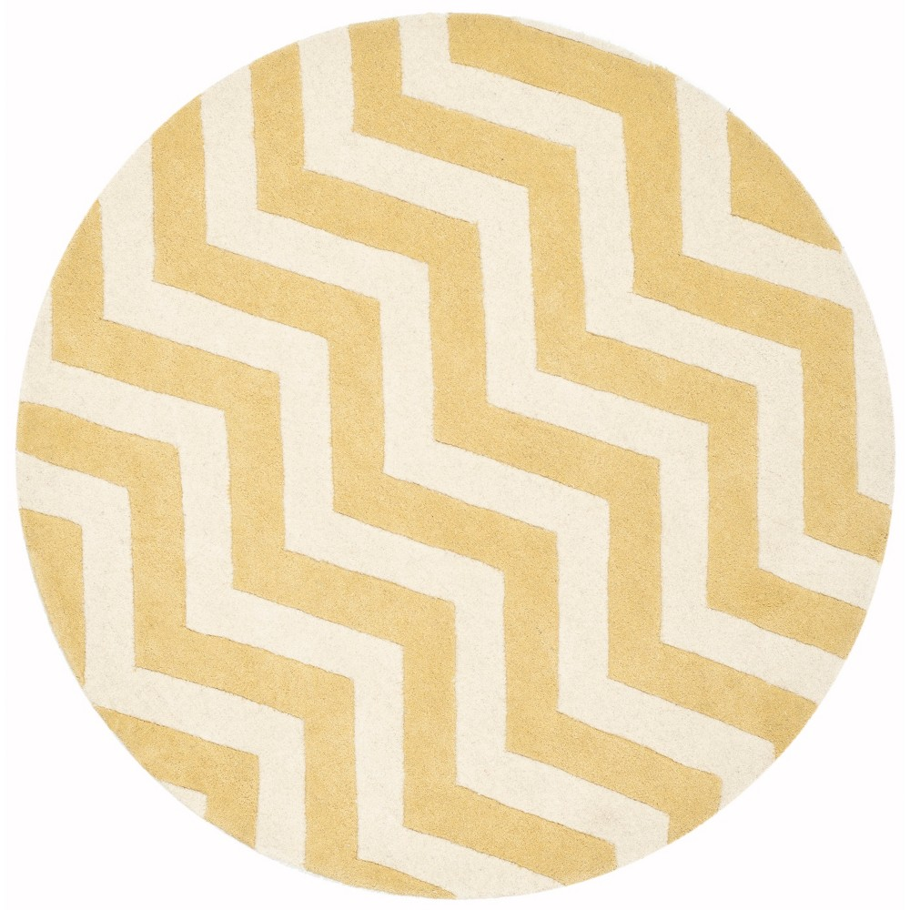5' Tufted Chevron Round Area Rug Light Gold - Safavieh, Light Gold/Ivory