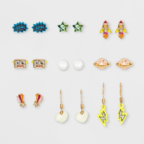 Girls' 9pk Space Earrings - Cat & Jack™ One Size - image 1 of 2