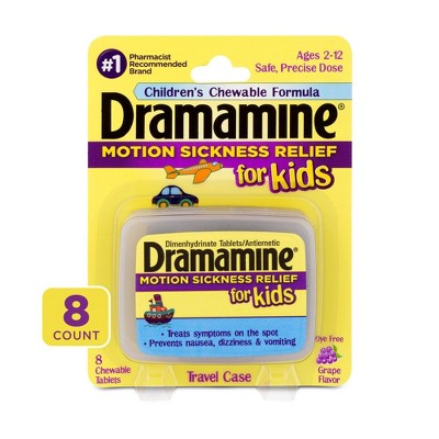 Dramamine Chewable Motion Sickness Relief for Kids - Grape Flavor -  8ct