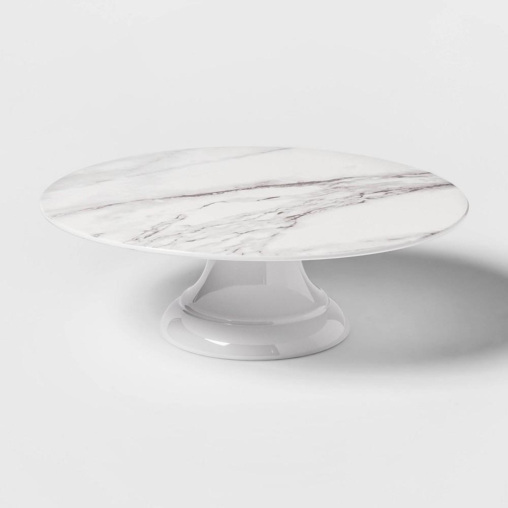 "Image of ""12"""" Melamine Marble Print Cake Stand White - Threshold"""