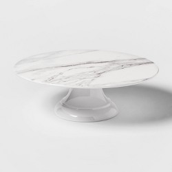"12"" Melamine Marble Print Cake Stand White - Threshold™"