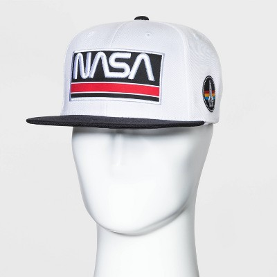 Men's NASA Flat Brim Baseball Hat - White/Black One Size