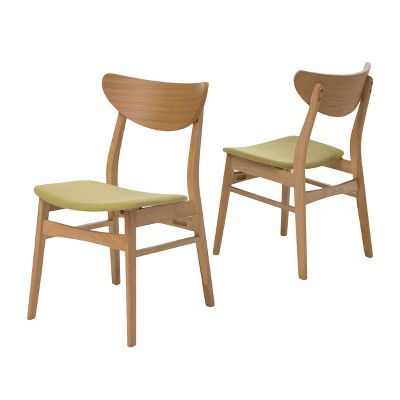 Set of 2 Anise Dining Chair Natural Oak/Green Tea - Christopher Knight Home