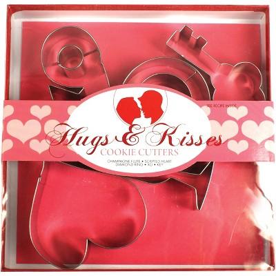 Fox Run 5 Piece Hugs and Kisses Steel Cookie Cutter Set