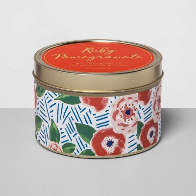 9oz Paper-Wrapped Tin Jar Candle Ruby Pomegranate - Opalhouse™