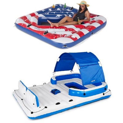 Intex Inflatable American Flag 2 Person Float & Bestway 6 Person Island Float