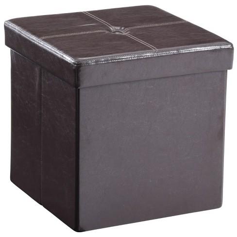 Foldable Faux Leather Storage Ottoman