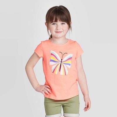 Toddler Girls' Short Sleeve Butterfly Graphic T-Shirt - Cat & Jack™ Peach 4T