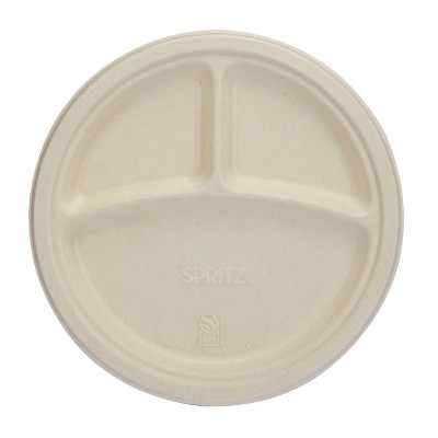 """9"""" 10ct Divided Plates Compostable Dinnerware Tan - Spritz™"""