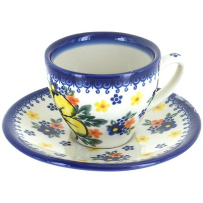 Blue Rose Polish Pottery Buttercup Tapered Espresso Cup & Saucer