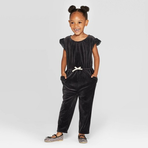 Oshkosh'B'gosh Toddler Girls' Velour Jumpsuit - Black - image 1 of 3