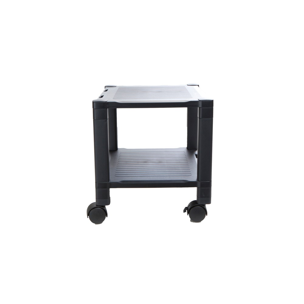 Image of 2 Shelf Plastic Printer Cart with Wheels Black - Mind Reader