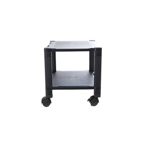 2 Shelf Plastic Printer Cart with Wheels Black - Mind Reader - image 1 of 4
