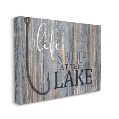 Stupell Industries Life Better Lake Quote Fish Lakehouse Cabin Nautical Phrase