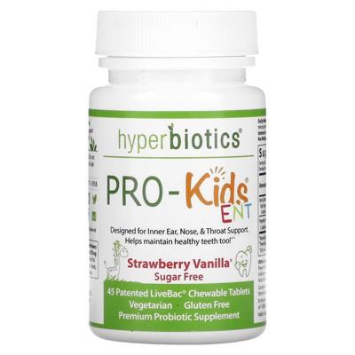 Hyperbiotics PRO-Kids ENT, Sugar Free, Strawberry Vanilla, 45 Patented LiveBac Chewable Tablets, Probiotics