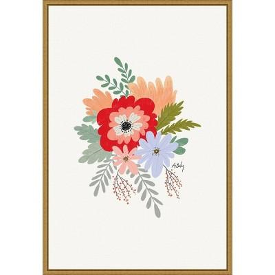 "16"" x 23"" Spring Flowers by Annie Bailey Art Framed Canvas Wall Art - Amanti Art"