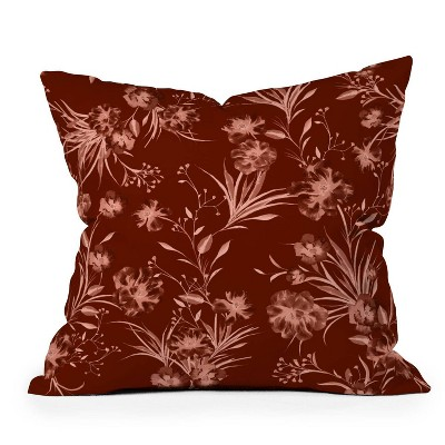 """16""""x16"""" Gabriela Fuente Holiday Floral Square Throw Pillow - Deny Designs"""