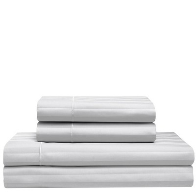 Queen 525 Thread Count Satin Stripe Cooling Cotton Sheet Set White - Elite Home Products