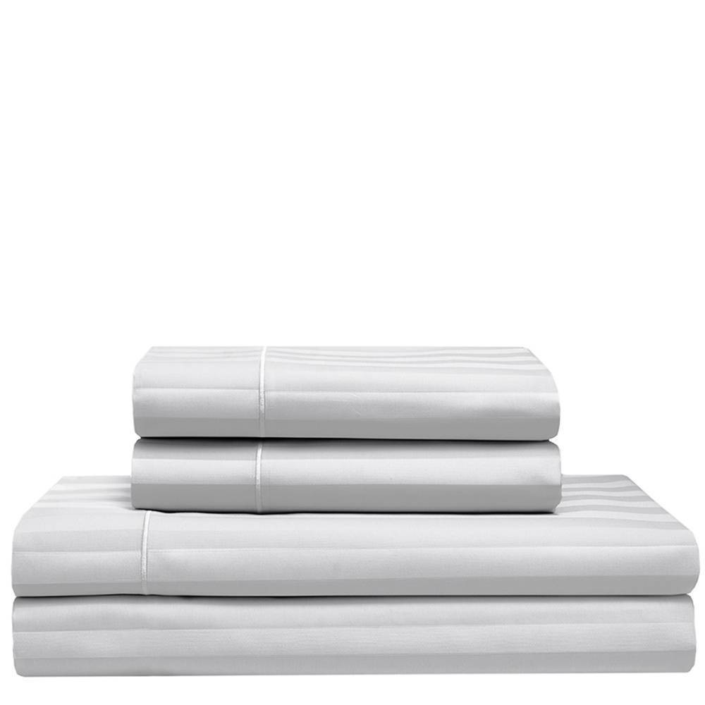 Image of Queen 525 Thread Count Satin Stripe Cooling Cotton Sheet Set White - Elite Home Products