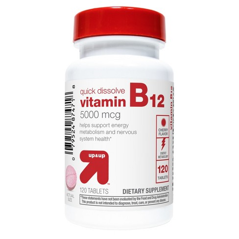 Vitamin B12 5000mcg Quick Dissolve Tablets - Cherry Flavor - 120ct - Up&Up™ - image 1 of 3