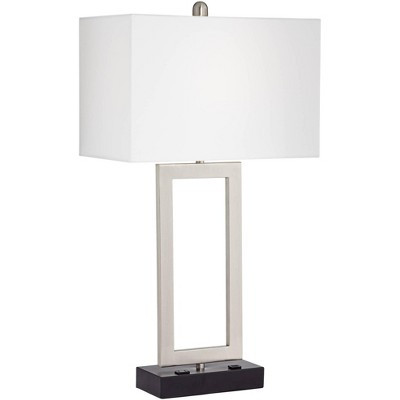 360 Lighting Modern Table Lamp with Hotel Style USB and AC Power Outlet in Base Steel Open Rectangle White Shade for Bedroom Office