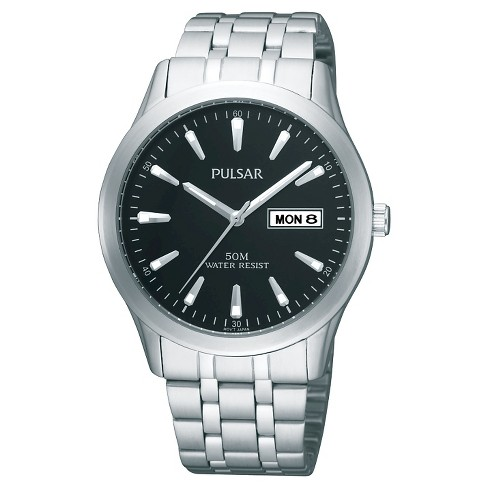 Men's Pulsar Lumibrite Calendar Watch - Silver Tone with Black Dial - PXN159X - image 1 of 1