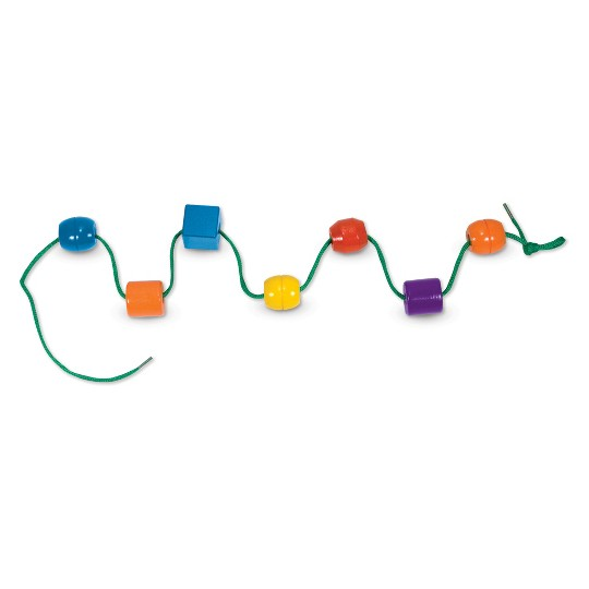 Melissa & Doug Primary Lacing Beads - Educational Toy With 30 Wooden Beads and 2 Laces image number null
