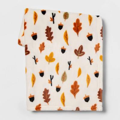 Leaf and Acorn Throw Blanket