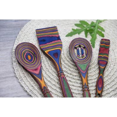 Island Bamboo 4pc Pakka Wood Kitchen Utensil Set Rainbow