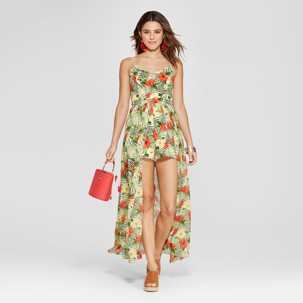 Women's Floral Print Walk Through Romper - XOXO (Juniors') Yellow/Green/Red L, Green/Red/Yellow was $79.0 now $35.54 (55.0% off)