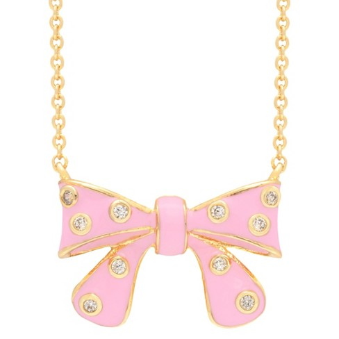 ELLEN 18k Gold Overlay Pink Enamel and CZ Children's Bow Pendant - image 1 of 1