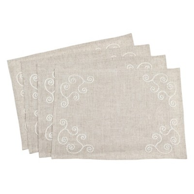 Embroidered Swirl Design Casual Natural Linen Blend Placemat - Saro Lifestyle