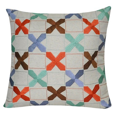 "Linen X's Throw Pillow (22"" x 22"") - Loom & Mill - image 1 of 2"